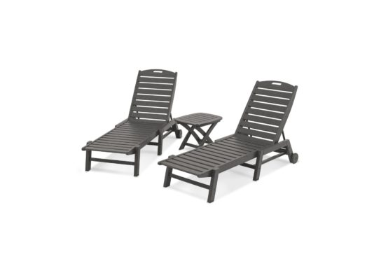 Plastic Chaise Lounge Set In Grey