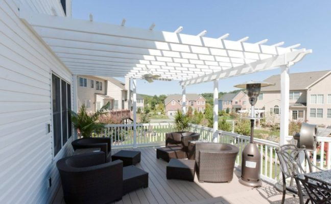 Attached Vinyl Pergola On Plastic Lumber Deck