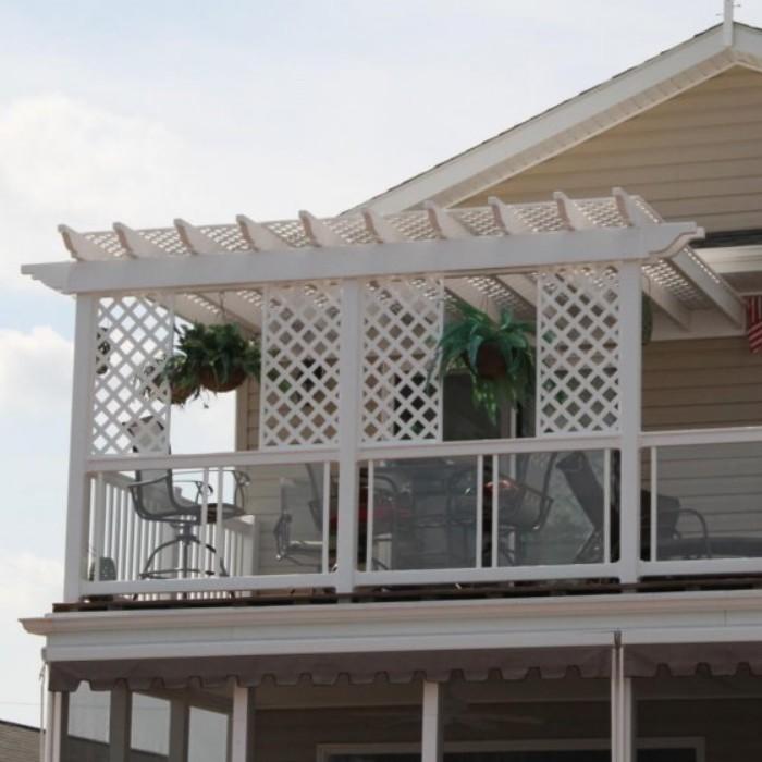 White vinyl pergola on second story deck