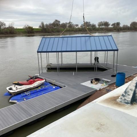dock built with plastic lumber