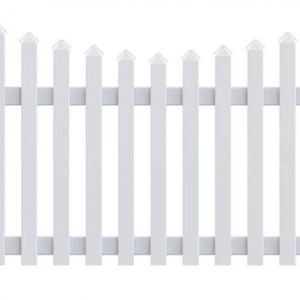Concave White Picket Fence
