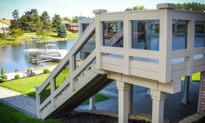 Deck and stairs made from plastic lumber