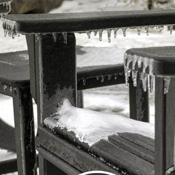 polywood furniture in snow and ice
